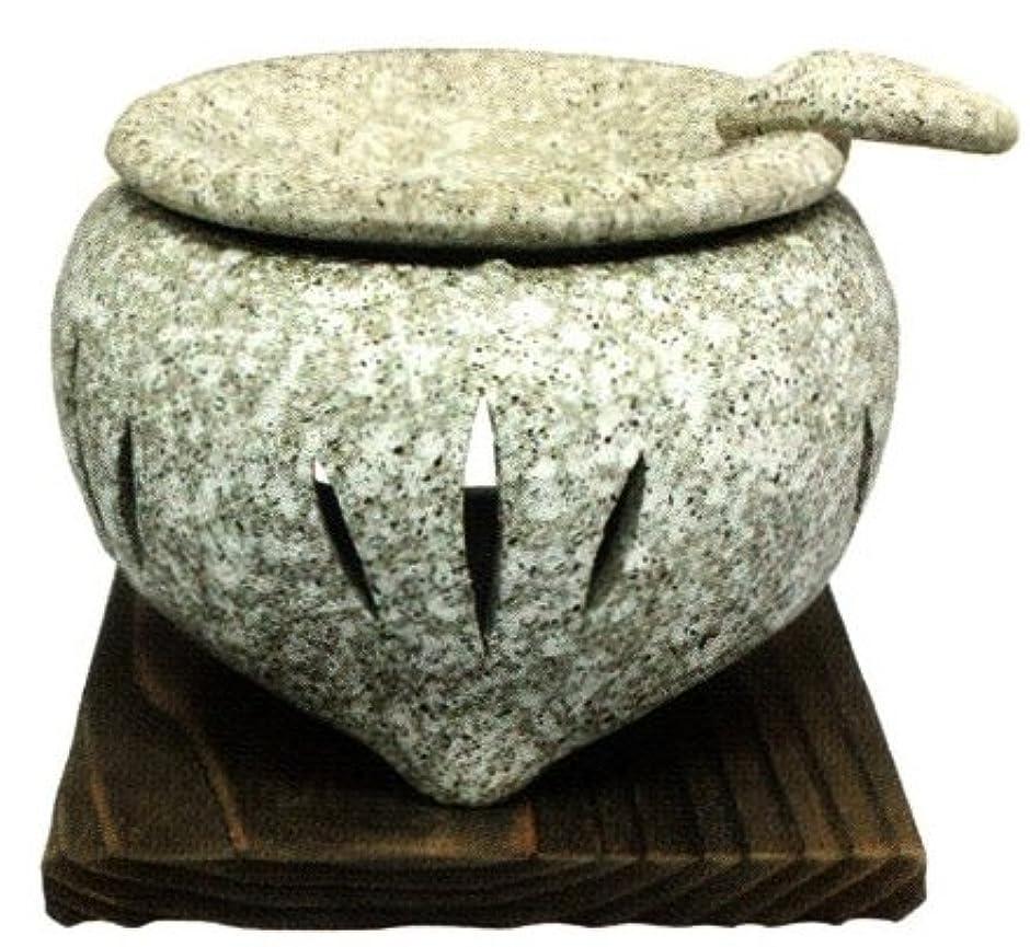 冒険予報ドライバ常滑焼?山房窯 カ39-03 茶香炉 石風 杉板付 約φ11.5×9.5cm