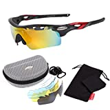【PROUDIA】 偏光レンズ オールインワン スポーツサングラス/ 自転車/スキー/スノボ/野球/テニス/ランニング/ゴルフ/ウィンドサーフィン/ジェットスキー/釣り/ドライブ/ (マットブラック×ワインレッド)
