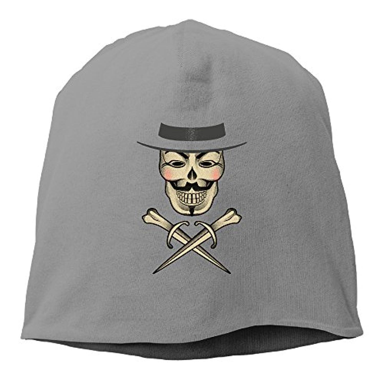 【Dera Princess】ユニセックス ニット帽 Skull & Fawkes Bonesロゴ コットン ニットキャップ 帽子 オールシーズン 被れる