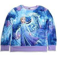 Disney Frozen II Girl's Long Sleeve Woobie Shirt Pullover Sweatshirt Elsa Winter Sparkle, Blue