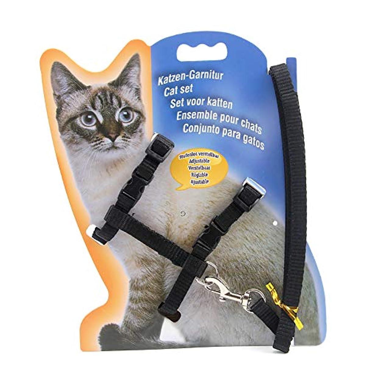 銃ブレーキ島HFEEL ハーネス 猫用 小型犬 リードセ ナイロン製耐久性良い胴輪 リード付 (ブラック)