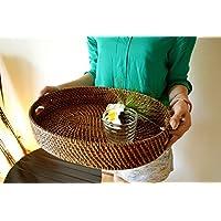 アジアン雑貨 バリ雑貨 ?深くて使い易い☆ラタンのオーバル型のお盆? キッチン雑貨 トレイ お盆 小物入れ ラタン 籐