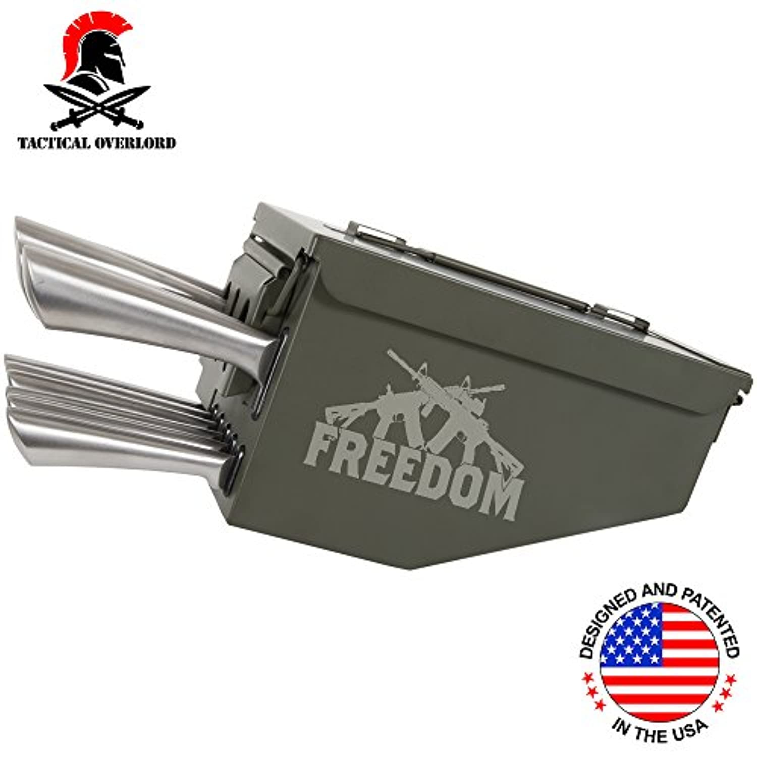 Tactical Overlord自由2 nd Amendment Engraved 10 Piece Ammo CanボックスナイフブロックCulteryセットストレージオーガナイザー