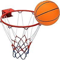 Pellor子供キッズソリッドバスケットボールリングフープNet with Rubberボールと壁マウントブラケット(レッド/ホワイト、フープ: 32 cm/12.6