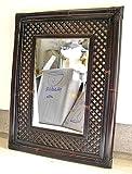 アジアン雑貨 バリ雑貨 ブラックバンブー ミラー 壁掛け 鏡 姿見 斜格子 91cmx71cm