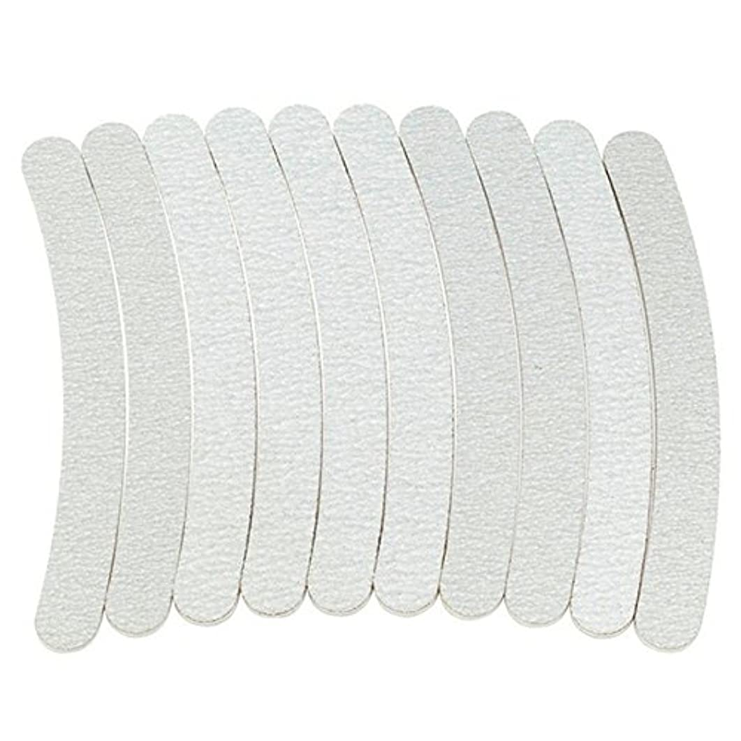 繊毛リンススリラーACAMPTAR 10 x グレーネイルファイルサンディング 100/180 カーブバナナ ネイルアートチップマニキュア