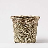 DCAH ストレージバスケット手織り円筒ストローストレージバスケットデブリバスケットフラワーバスケットデスクトップデコレーション Laundry basket (サイズ さいず : 20 * 15cm)