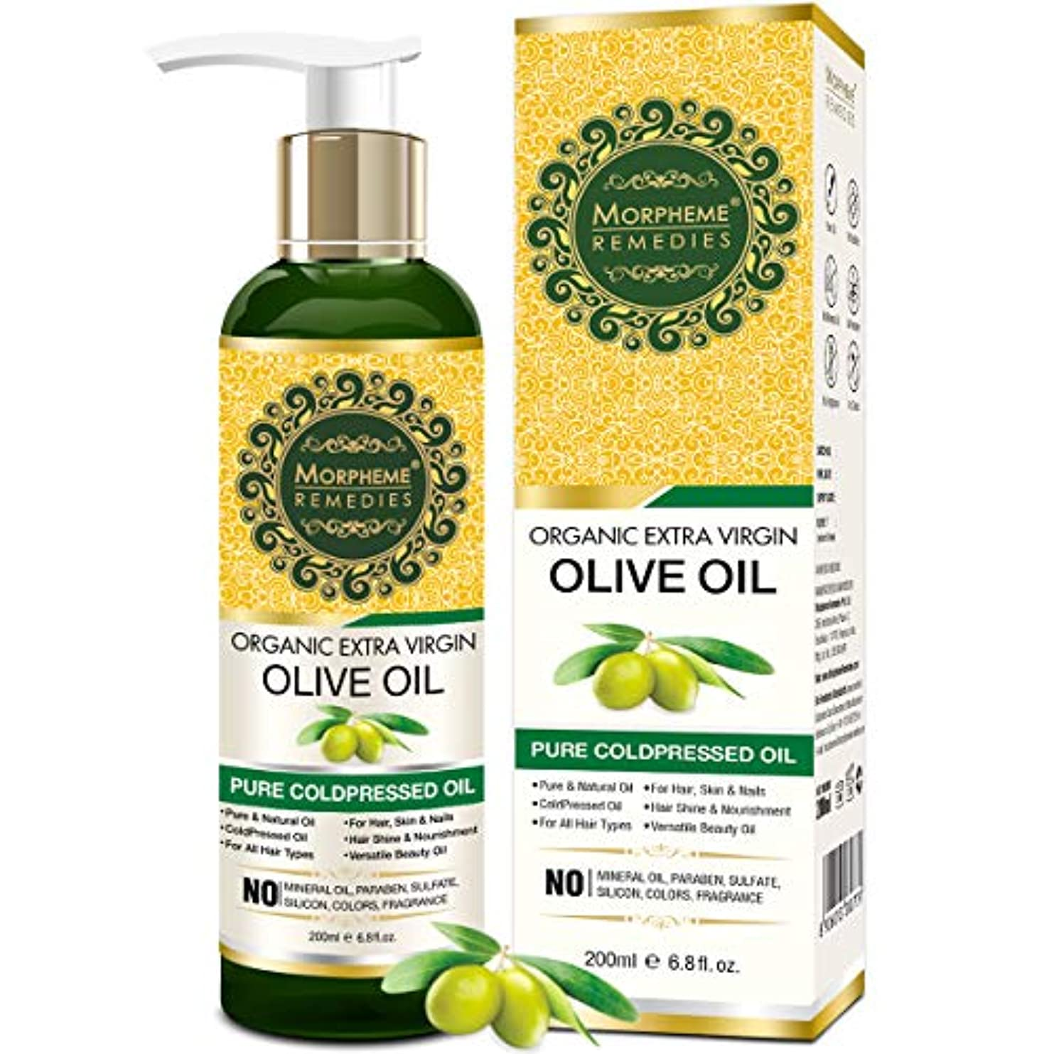 苦難聞きますもっともらしいMorpheme Remedies Organic Extra Virgin Olive Oil (Pure ColdPressed Oil) For Hair, Body, Skin Care, Massage, Eyelashes...