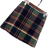 【four clover】タータンチェック あったか可愛い ウール スカート 秋冬 レディース ウール チェック 格子(エコバッグ付き)