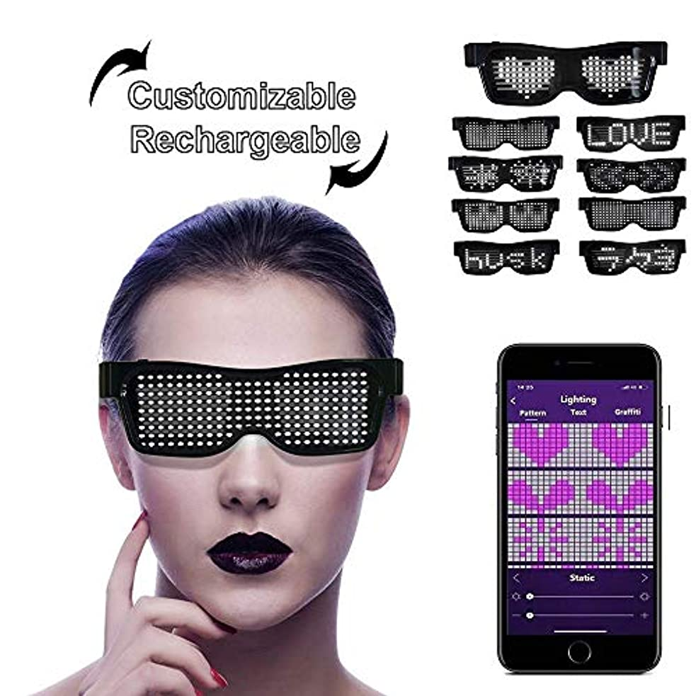 行商先生グレートオークLEDサングラス, LEDメガネ ブルートゥースLEDパーティーメガネカスタマイズ可能なLEDメガネUSB充電式9モードワイヤレス点滅LEDディスプレイ、フェスティバル用グロー眼鏡レイヴパーティー