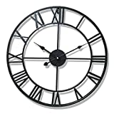 Nclon レトロ 掛け時計 ウォールクロック,錬鉄 ローマ数字 大規模です ラウンド 北欧 金属 リビング ルーム カフェ 精度 壁時計 壁掛け時計-ブラック 40cm