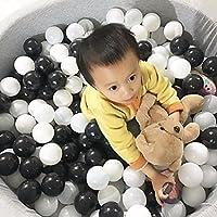 Mazhashop カラーボール おもちゃボール 3色 約100個 直径5.5cm やわらかポリエチレン製 収納ネットセット(プール/ボールハウス用 (黒、白、グレーの三色)