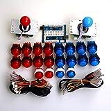 Easyget 2プレーヤーアーケード・ゲームDIY部分USB PCジョイスティック 2X 5ピン 5V 4/8 方向ジョイスティック+ 20 X LEDは押しボタンを照明した MEME&格闘ゲーム向け (ブルー+レッド)