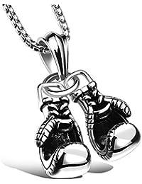 MFYS Jewelry ファッション メンズ アクセサリー ボクシンググローブ ステンレス ペンダント ネックレス (チェーン付)【ジュエリーBOX付】 (シルバー)