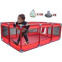 大きな屋内屋外の赤ちゃん男の子女の子の遊び場のボールの安全性遊び場の庭ポータブル折り畳み式の幼児のホーム活動エリアフェンス10パネル、赤 (色 : 100 Balls)