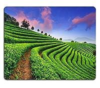 日没時の空の下の茶畑39851830カスタマイズされた長方形のマウスパッド、ゲーミングマウスパッドマウスマット