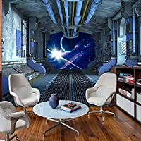 Bzbhart テレビの背景装飾画、壁用ステッカー子供部屋壁布壁画個人用宇宙船カプセル写真壁紙子供部屋3D自己接着ビニール/シルクの壁画-200cmx140cm