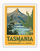 タスマニア - 南のスイス - マウント Ida, 湖 St. Clair - ビンテージな世界旅行のポスター によって作成された ハリー・ケリー c.1940 - アートポスター - 28cm x 36cm