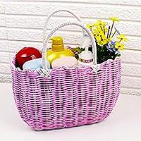 DCAH ストレージバスケット韓国手織りショッピングバスケットガーデンバスバッグ入浴バスケットプラスチックショッピングバスケット Laundry basket (色 : Pink, サイズ さいず : 21 * 30 * 13cm)