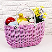 ZZHF xiyilan ストレージバスケット韓国手織りショッピングバスケットガーデンバスバッグ入浴バスケットプラスチックショッピングバスケット バスケット (色 : Pink, サイズ さいず : 24 * 35 * 14cm)