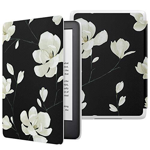 ATiC NEW Kindle Newモデル ケース Kindle 第10世代 2019用 軽量 薄型 保護カバー 耐久性 耐衝撃 落下防止 オートスリープ機能付き Black & White Magnolia