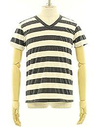(ベルバシーン) Velva Sheen 胸ポケット付き ワイドボーダー VネックTシャツ [161406] O.WHT/CHA S