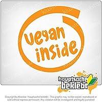 内部のビーガン Vegan inside 11cm x 11cm 15色 - ネオン+クロム! ステッカービニールオートバイ