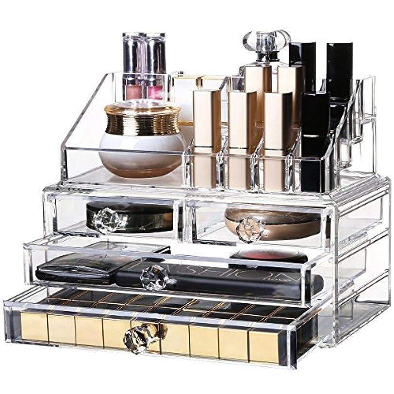 流行している純粋な化粧品収納ボックス OBOR(オビオア) 化粧品収納ラック 透明化粧品ケース メイクボックス メイクケース コスメボックス 強い耐久性 整理簡単 引き出し小物/化粧品入れ おしゃれ 透明アクリル 化粧品入れ コスメ収納 アクリルケース レディース (クリア)