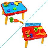 KidsアウトドアおもちゃセットSummer Sand and Water Table with Beach Playセット砂テーブルおもちゃfor ToddlersカラフルWishtime