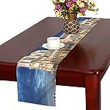 LKCDNG テーブルランナー 素晴らしい ノートルダム大聖堂 クロス 食卓カバー 麻綿製 欧米 おしゃれ 16 Inch X 72 Inch (40cm X 182cm) キッチン ダイニング ホーム デコレーション モダン リビング 洗える