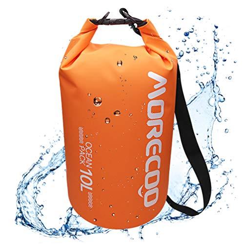 ドライバッグ 防水バッグ ドラム型 プールバッグ 5L/10L/20L 強力な500D PVCタープ 防水袋 大容量 超軽量リュック アウトドア カヤック ラフティング ボート 水泳 温泉 キャンプ ハイキング ビーチ お釣りなどに適用 手提げ/肩掛け可能 防災バッグ (オレンジ 10L)