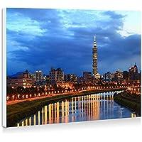 台北の街の夜、川、建物、ライト - 壁の絵 壁掛け ソファの背景絵画 壁アート写真の装飾画の壁画 - (40cmx30cm)