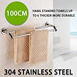 1M Double Towel Rail Rack Bathroom Hanger Wall Mount 304 Stainless Steel BAR Kit