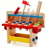木製ツールキットセットワークベンチChildrens Take Along Carpentry木工ツールCultivate知的教育