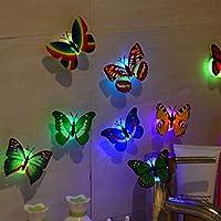 GZQ 10個装飾LEDライト 3D ロマンチック 雰囲気 カラフルバタフライナイトライト ウォールステッカー ランプ フェアリーライト 家庭 ウェディング クリスマス 誕生日 パーティー ホリデーガーデン