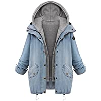 Shouhengda Women's Hooded Drawstring Jeans Outerwear Plus Loose Zip up Blue Denim Two Piece Jacket with Hoodie Vest Boyfriend