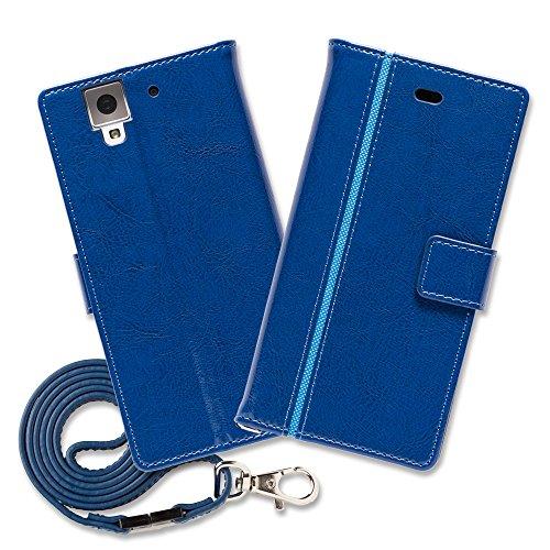 Hy+ arrows NX(アローズNX) F-02H 本革レザー ケース 手帳型 (ネックストラップ、カードポケット、スタンド機能、卓上充電対応) ブルー