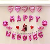 HAPPY WEDDING 超巨大 ウェディング バルーン セット 結婚式 二次会 飾り付け パーティーのデコレーション 風船 装飾セット (HAPPY WEDDINGバルーン)