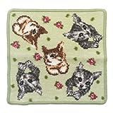 (アーンジョー)Enjeau 「総柄ハナ ネコ(猫)」 日本製 ハンカチ タオル 23cm シェニール織 綿100% 犬猫 ギフト対応可