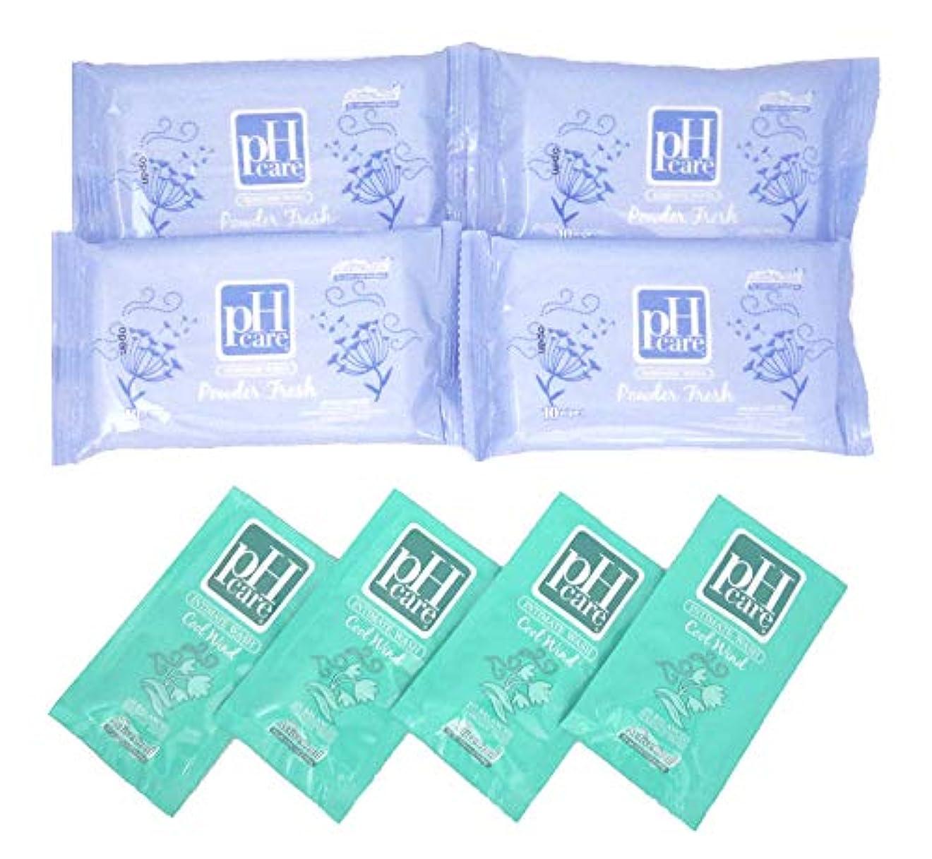 (ピーエイチケア)pHcare フェミニンウェットシート パウダーフレッシュ 4袋 携帯パウチ 4袋 セット