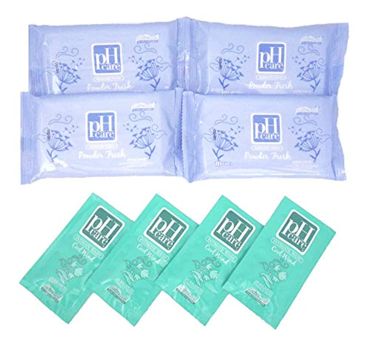 石鹸慣習バンジージャンプ(ピーエイチケア)pHcare フェミニンウェットシート パウダーフレッシュ 4袋 携帯パウチ 4袋 セット