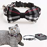 M-YOUNG Cat Collar Breakaway with Bell and Bow Tie, Plaid Design Adjustable Safety Kitty Kitten Collars(6.8''-10.8'') (b Black)