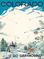 コロラド州グレイハウンド–ビンテージポスター(アーティスト:匿名) USA C。1955 12 x 18 Art Print LANT-72634-12x18