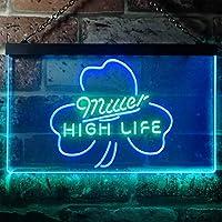 Miller High Life Shamrock LED看板 ネオンサイン バーライト 電飾 ビールバー 広告用標識 グリーン+ブルー W40cm x H30cm