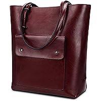 YALUXE Women's Handbag Purse Front Pocket Vintage Style Soft Leather Work Tote Large Shoulder Bag