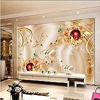 Wuyyii 3D紙の壁画ダイヤモンドの花の白鳥の絹の背景の壁の部屋の寝室の壁画の壁紙 - 250X175Cm