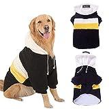 【Momugs Akira】犬服 中大型犬用パーカー コート 暖かい 防寒 お散歩 ドッグウェア 柴犬 ストライプ 5XL