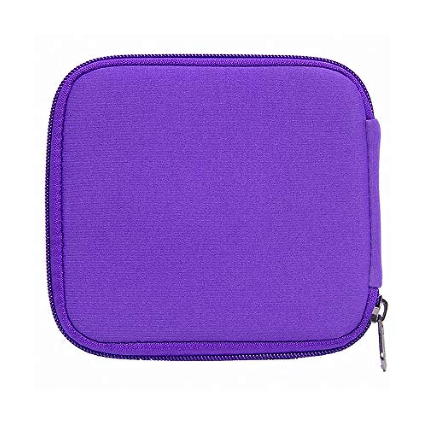 世界の窓フォアタイプ外出エッセンシャルオイルボックス 外部ストレージハード袋を運ぶ10ミリリットルバイアル瓶石油貯蔵カセットを保持している油の旅行のための石油貯蔵タンク10 アロマセラピー収納ボックス (色 : 紫の, サイズ : 14X15X1.5CM)