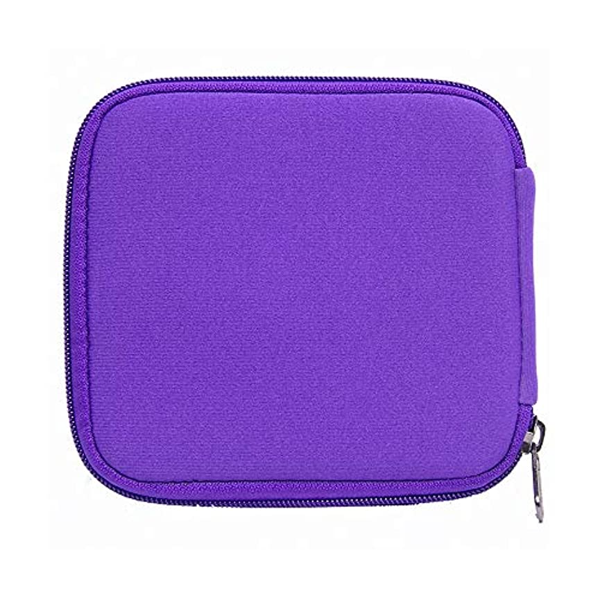 ネイティブ市民怖がらせる精油ケース 10本のボトル用オイルホルダーキャリング旅行エッセンシャルオイルの収納ケースは、紫色を10mlバイアル黒開催します 携帯便利 (色 : 紫の, サイズ : 14X15X1.5CM)