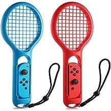 テニス Nintendo Switch用 Joy-Con用 ラケット型アタッチメント KINGTOP 新型Switchゲーム マリオテニス用ラケット ハンドストラップ付 ブルー&レッド 2個セット